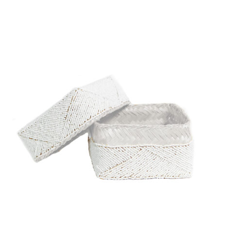 white beaded basket with lid off