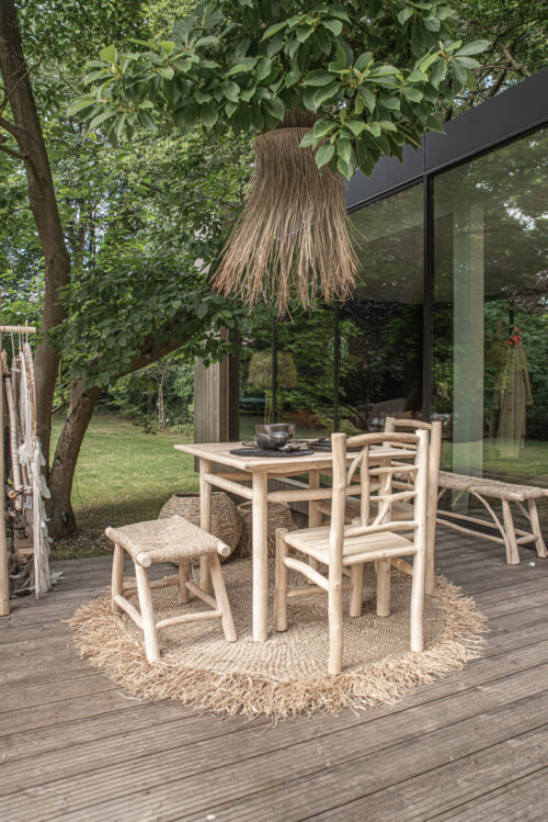 garden setting with table and lamp
