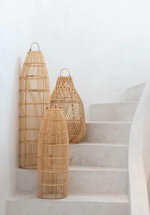 several natural lamps standing on staircase