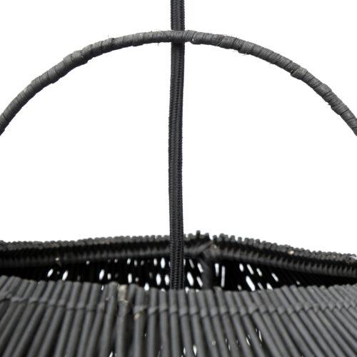 detail shot top of black rattan lamp