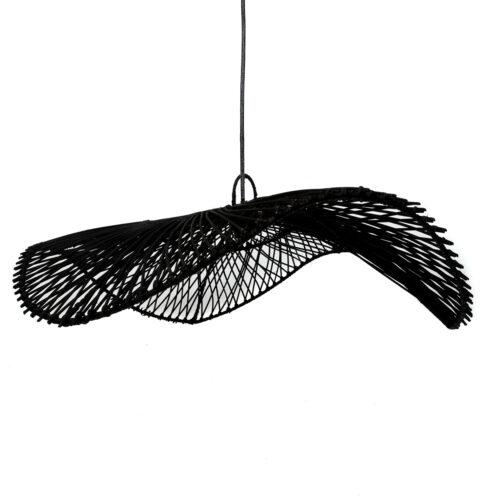 black rattan hanging lamp in shape of a cap