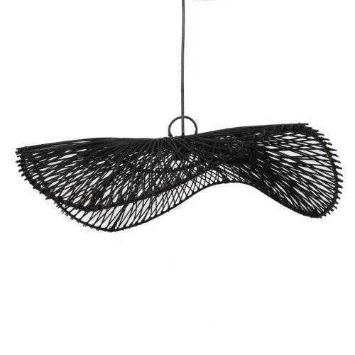 product shot of black rattan hanglamp
