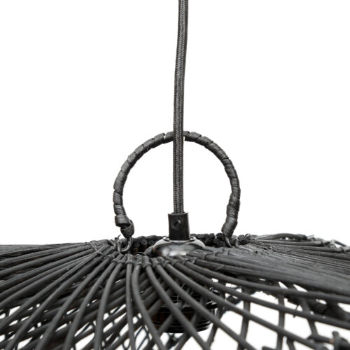 shot from top of a black rattan lamp