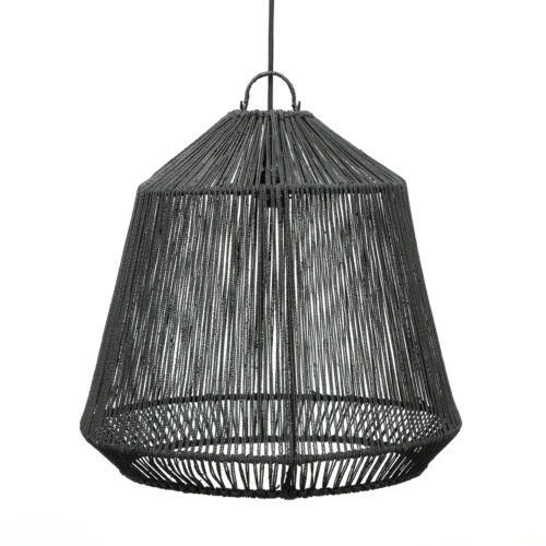 product shot black lamp made from seagrass