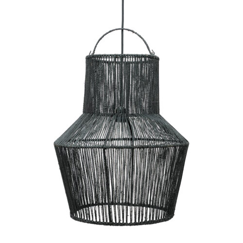 hanging black lamp made from woven fabric