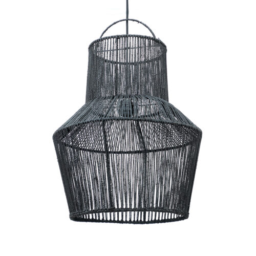 hanging lamp in black with woven ropes