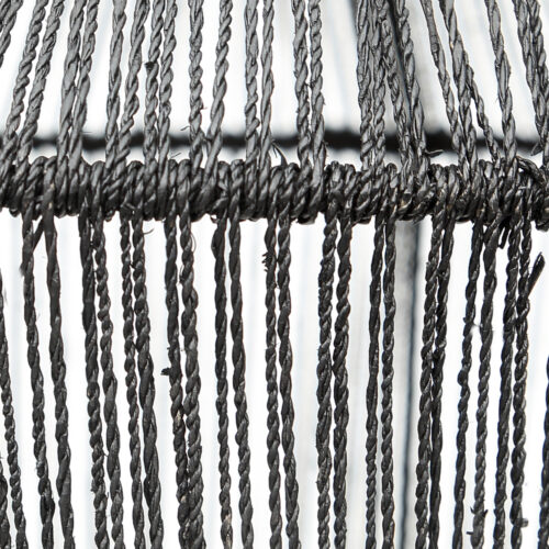 detail of black woven rope of lamp