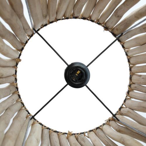 inside of rattan lamp
