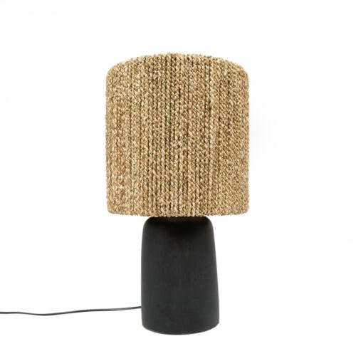 black lamp with seagrass
