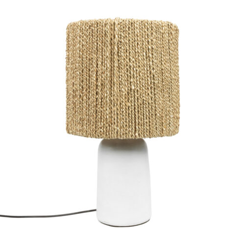 white table lamp made with seagrass