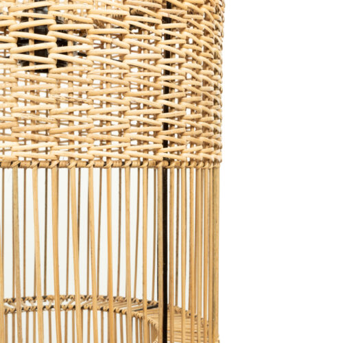 detail shot of lamp made from natural rattan
