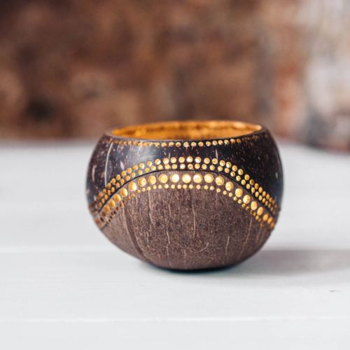 yinyang candleholder made from coconut shells
