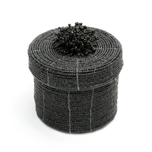 zwart kralen mandje met deksel