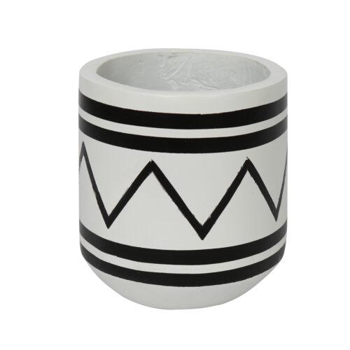 witte pot met zwarte decoratie