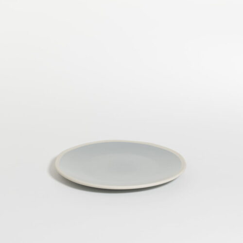 small plate in sea salt color with white edge