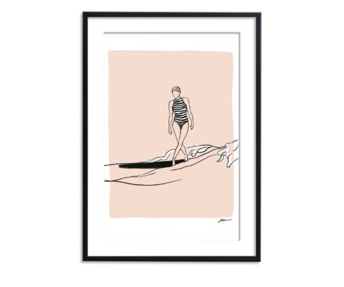 vrouw surfend op de zee illustratie