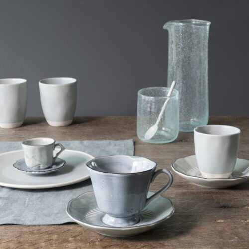 table setting with coffee cups and glasses