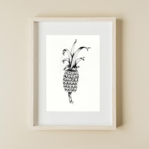 illustratie van ananas in een blanco frame aan muur