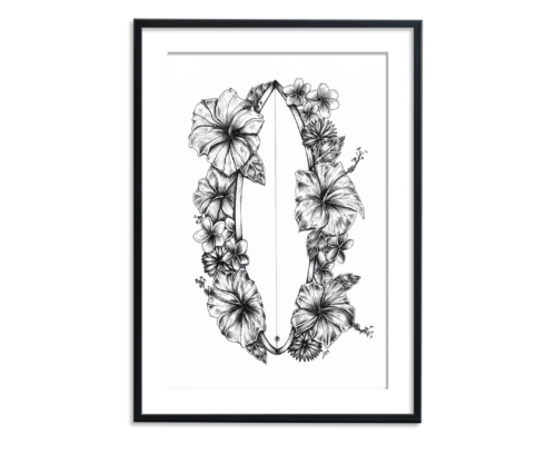 zwart wit illustratie van bloemen