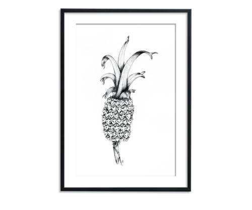 zwart wit illustratie van een ananas