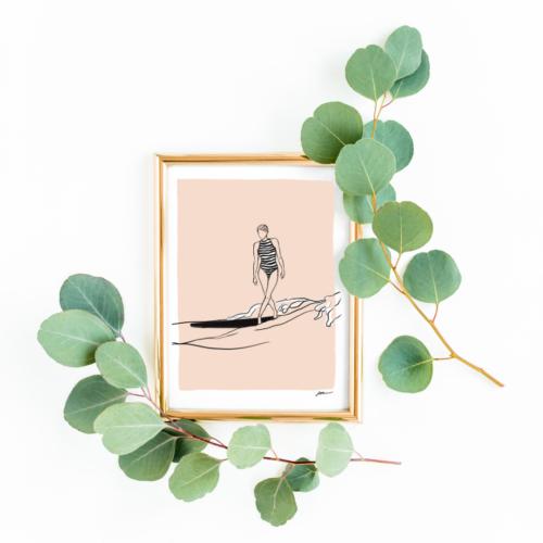 Illustratie surfvrouw op plank op zee