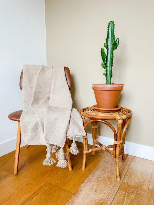 Stoel met dekens en daarnaast een rattan krukje met een cactus in terracottapot