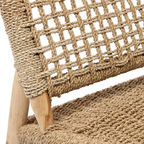 detail van geweven loungestoel in naturel sisal