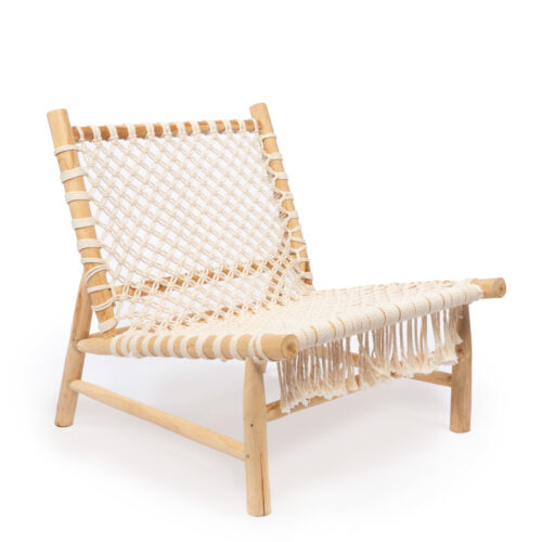 teakhouten loungestoel met katoenen geweven zitting en rug