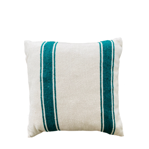 square cushion in ecru with green emerald stripes on white background